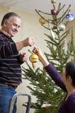 Vestindo a árvore de Natal Fotos de Stock