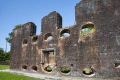 Vesting Bakstenen muren van Fort Zeelandia, Guyana royalty-vrije stock foto