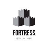 Vesting - het creatieve concept van het embleemteken De abstracte illustratie van de kasteeltoren Vectorembleemmalplaatje royalty-vrije illustratie