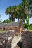Vesting Kanonnen van Fort Zeelandia, Guyana Het fort Zeeland wordt gevestigd op het eiland van de Essequibo-rivier royalty-vrije stock afbeeldingen