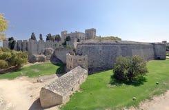 Vesting in middeleeuwse stad, Rhodos (Griekenland) Stock Foto