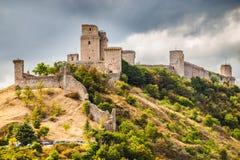 Vesting Rocca Maggiore - Assisi, Umbrië, Italië royalty-vrije stock afbeelding