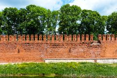 Vestingsmuur van Smolensk het Kremlin, Smolensk, Rusland stock foto's