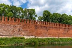 Vestingsmuur van Smolensk het Kremlin, Smolensk, Rusland royalty-vrije stock fotografie