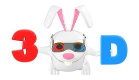 vestir do coelho do caráter 3d espetáculos cianos vermelhos e guardando as letras 3D com cor vermelha e ciana respectivamente ilustração stock