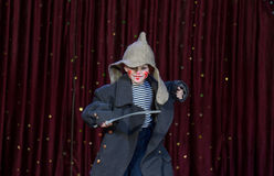 Vestir do menino compõe e grande revestimento com Toy Sword Imagem de Stock Royalty Free
