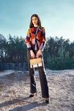 Vestiti alla moda di bella della donna di fascino usura sexy del modello di moda Fotografia Stock Libera da Diritti