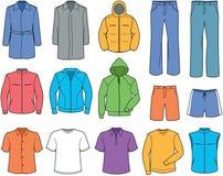 Vestiti casuali degli uomini ed illustrazione degli abiti sportivi Fotografie Stock