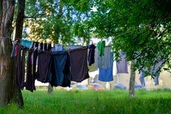 Vestiti che si asciugano sul filo stendibiancheria fra gli alberi verdi su aria fresca Fotografia Stock Libera da Diritti