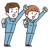 Vestiti da lavoro, uomini e donne, incoraggianti, illustrazione vettoriale