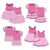 Vestiti dai bambini abbozzo Colore rosa Fotografia Stock Libera da Diritti