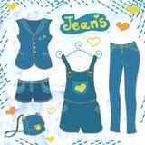Vestiti dei jeans di vettore messi Fotografia Stock