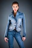 Vestiti dell'accumulazione dei jeans Fotografia Stock Libera da Diritti