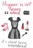 Vestiti dell'acquerello per un'occasione speciale che consiste di bello vestito punteggiato, dei tacchi alti rossi, di una borsa  illustrazione vettoriale