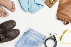 Vestiti dell'annata di estate di vista superiore Immagine Stock