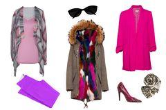 Vestiti della donna del collage Metta dei vestiti dalle donne, del cappotto alla moda e d'avanguardia e degli accessori isolati s fotografia stock