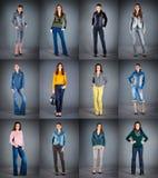 Vestiti della signora dell'accumulazione dei jeans Immagine Stock Libera da Diritti