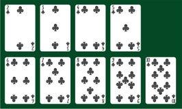 Vestiti delle carte da gioco dei club da 20 a 10 Una piattaforma delle carte Immagini Stock Libere da Diritti