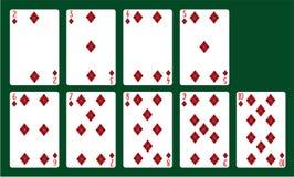 Vestiti delle carte da gioco dei diamanti da 20 a 10 Una piattaforma delle carte Immagine Stock