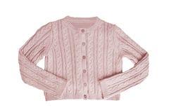 Vestiti delle ragazze Bello maglione rosa festivo della bambina o cardigan tricottato isolato su un fondo bianco Bambini e bambin fotografia stock
