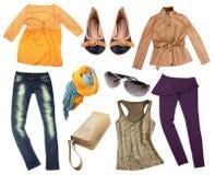 Vestiti di autunno di modo isolati Fotografia Stock