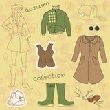 Vestiti di autunno, insieme di vettore Fotografia Stock