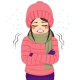 Vestiti di congelamento di inverno della donna Immagine Stock