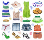 Vestiti di estate dell'accumulazione Immagine Stock