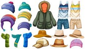 Vestiti di estate e di inverno Fotografie Stock