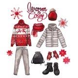 Vestiti di inverno dell'acquerello Immagini Stock Libere da Diritti