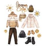 Vestiti di inverno dell'acquerello Fotografia Stock Libera da Diritti