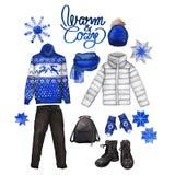 Vestiti di inverno dell'acquerello Fotografia Stock