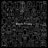 Vestiti disegnati a mano Black Friday della donna e dell'uomo Immagini Stock Libere da Diritti