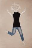 Vestiti disposti nell'azione con il disegno della donna Immagine Stock