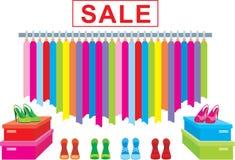 Vestiti e vendita delle calzature illustrazione vettoriale