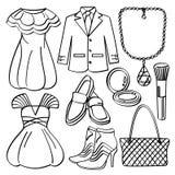 Vestiti ed accessori illustrazione di stock