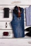 Vestiti ed accessori degli uomini Fotografie Stock