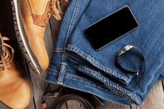 Vestiti ed accessori del ` s degli uomini Fotografia Stock Libera da Diritti