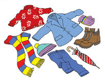 Vestiti ed accessorio di inverno Illustrazione di Stock