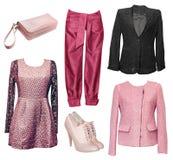 Vestiti eleganti femminili messi dei vestiti Isolato Fotografia Stock