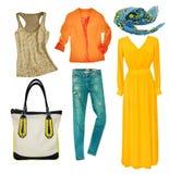 Vestiti moderni luminosi messi Usura femminile dell'abbigliamento del collage isolata Fotografie Stock Libere da Diritti