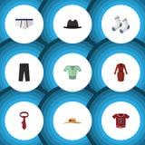 Vestiti piani dell'icona messi di oggetti casuali ed altro dei vestiti, dei pantaloni, di vettore Inoltre include la biancheria i Immagine Stock