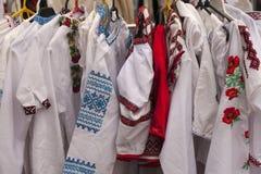 Vestiti pieghi nazionali ucraini Fotografia Stock Libera da Diritti