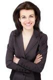 Donna sorridente di affari isolata su fondo bianco. Fotografia Stock Libera da Diritti