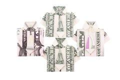 Vestiti su ordinazione dalle fatture del dollaro isolate fotografia stock