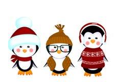Vestiti svegli del bambino dei pinguini Fotografia Stock