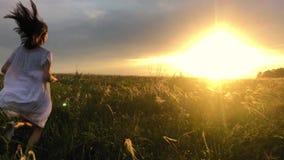 Vestito bianco d'uso dalla bella ragazza che passa bello campo al tramonto Giovane donna che pareggia al prato e video d archivio