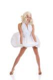 Vestito bianco dalla donna Fotografie Stock
