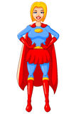 Vestito blu rosso del carattere della donna del supereroe del fumetto dell'autoadesivo Fotografia Stock Libera da Diritti