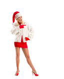 Vestito come Santa Claus Pointing Advertising Space fotografie stock